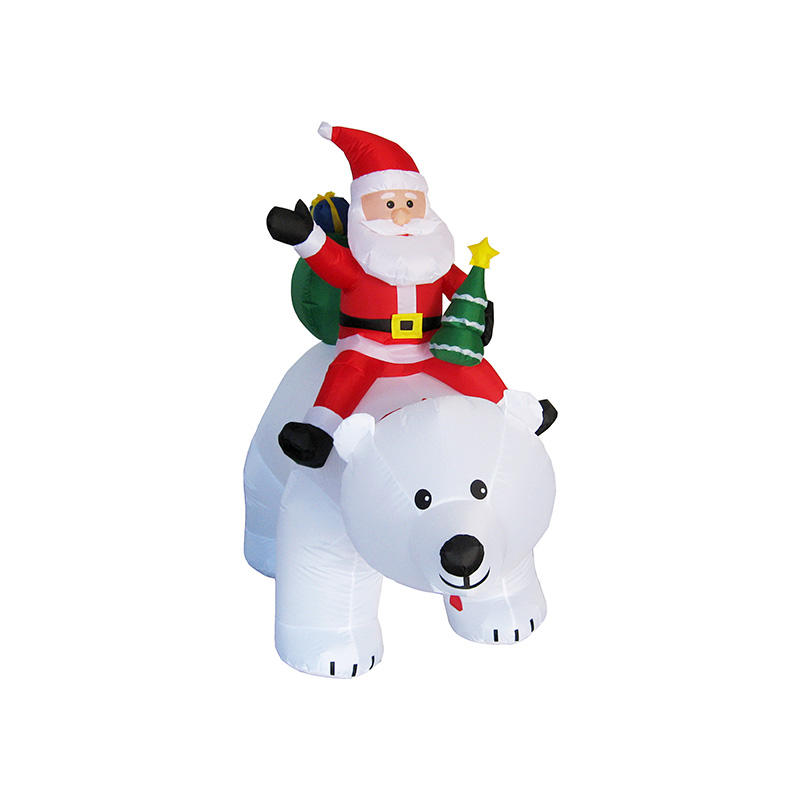 Animated Inflatable big Polar bear rotating head with Santa FL20QS-186